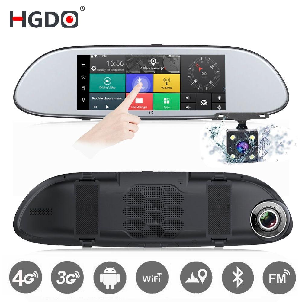 HGDO 3G 4G 7 Car DVR Mirror Camera Android 5.0 wifi GPS Full HD 1080P Video Recorder Dual Lens Registrar Rear view Dash cam podofo 7 car dvr mirror camera full hd 1080p video recorder dual lens registrar rear view dvrs dash cam auto parking assistance