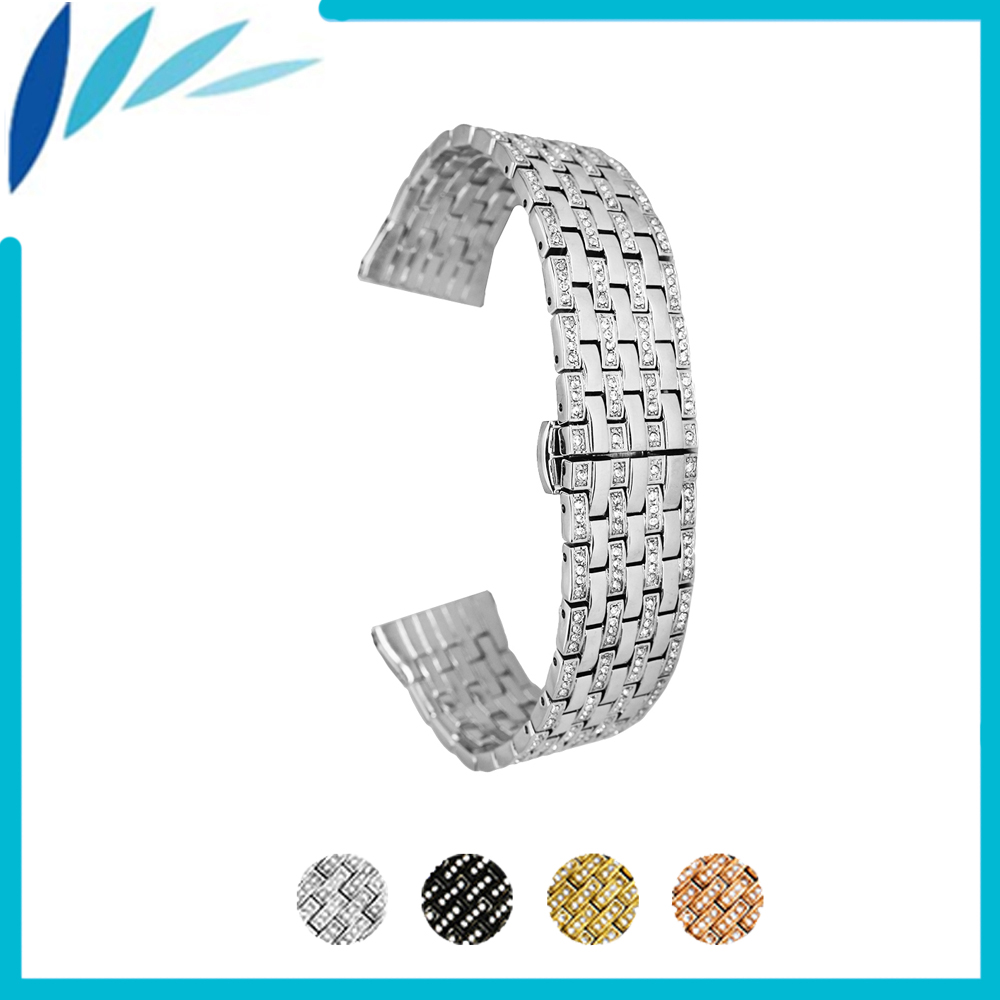 Stainless Steel Watch Band 21mm for Fossil Watchband Push-Button Hidden Clasp Metal Strap Loop Wrist Belt Bracelet Black Silver stainless steel watch band 18mm 20mm 22mm 24mm for orient safety clasp strap loop belt bracelet black rose gold silver tool