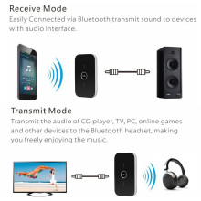B6 2 in 1 Bluetooth Transmitter & Receiver Wireless A2DP Bluetooth Audio Adapter Portable Audio Player Aux 3.5mm Black