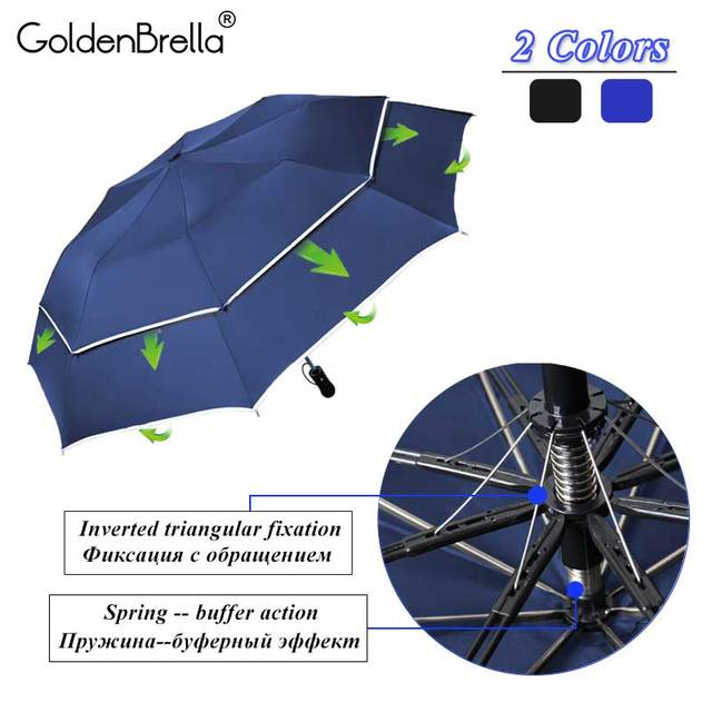 Double Layer Big Umbrella Rain Women Windproof Semi-Automatic Umbrella Men 2Folding Waterproof Family Travel Umbrella  Paraguas