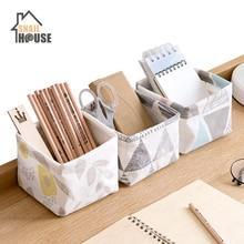 Snailhouse Desktop Waterproof Storage Basket Printing Linen Sundries Home Decoration Makeup Bag Underwear Sock Organizers