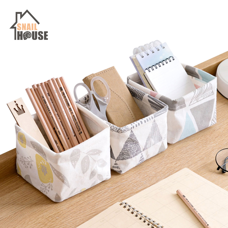 Snailhouse Desktop Waterproof Storage Basket Printing Linen Sundries Basket Home Decoration Makeup Bag Underwear Sock Organizers