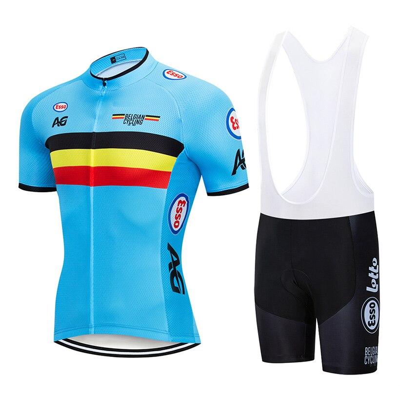 2019 bélgica camisa de ciclismo 9d conjunto bib mtb bicicleta shorts terno ropa ciclismo dos homens verão secagem rápida roupas maillot culotte
