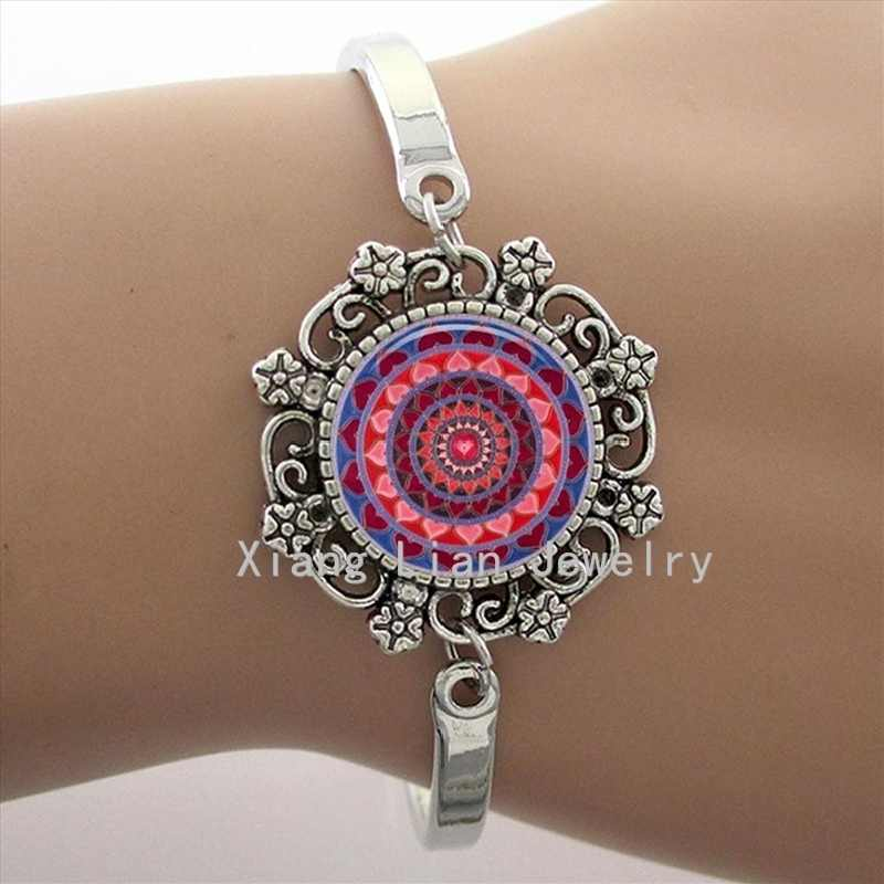 Vintage red women yoga mandala lace charm bracelet earrings necklace set fashion bridal wedding jewelry sets friends gifts HT018