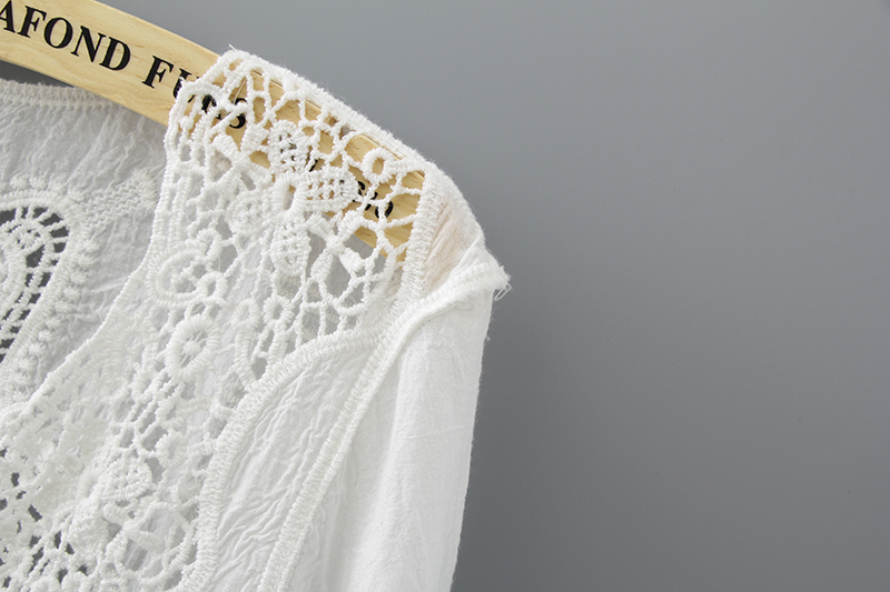 Hollow Out White Lace Blouse Kimono Summer 2019 Cotton Loose Woman Shirt Fashion Half Sleeve Kimono Cardigan Blouses Women 1806 7