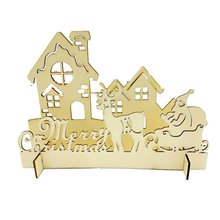 Newest Natural wooden DIY Christmas tree Tabletop Gifts Three dimensional forest, deer, house DTY Decoration 5pcs