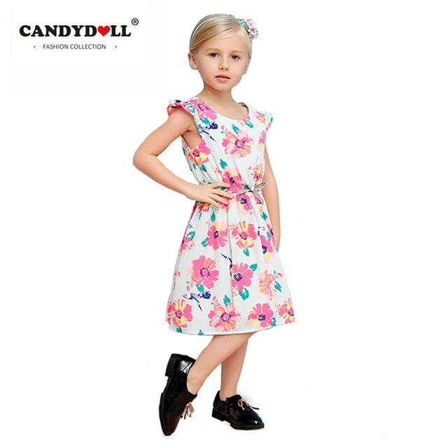 ac1a3d9b204 CANDYDOLL Summer Girls Dress Baby Cotton Princess Costume Kids knee-length  a-line brand