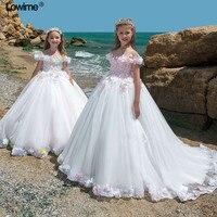 2018 Ball Gown Boat Neck Flower Girl Dresses For Weddings Cap Sleeve First Communion Dresses Girls Pageant Dresses