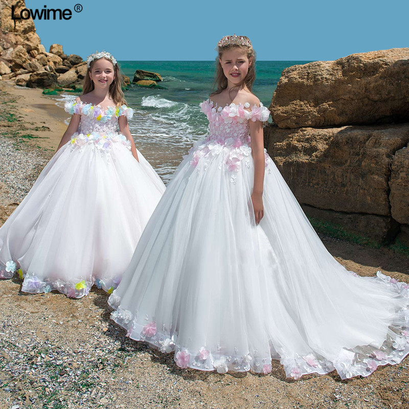 2018 Ball Gown Boat Neck   Flower     Girl     Dresses   For Weddings Cap Sleeve First Communion   Dresses     Girls   Pageant   Dresses