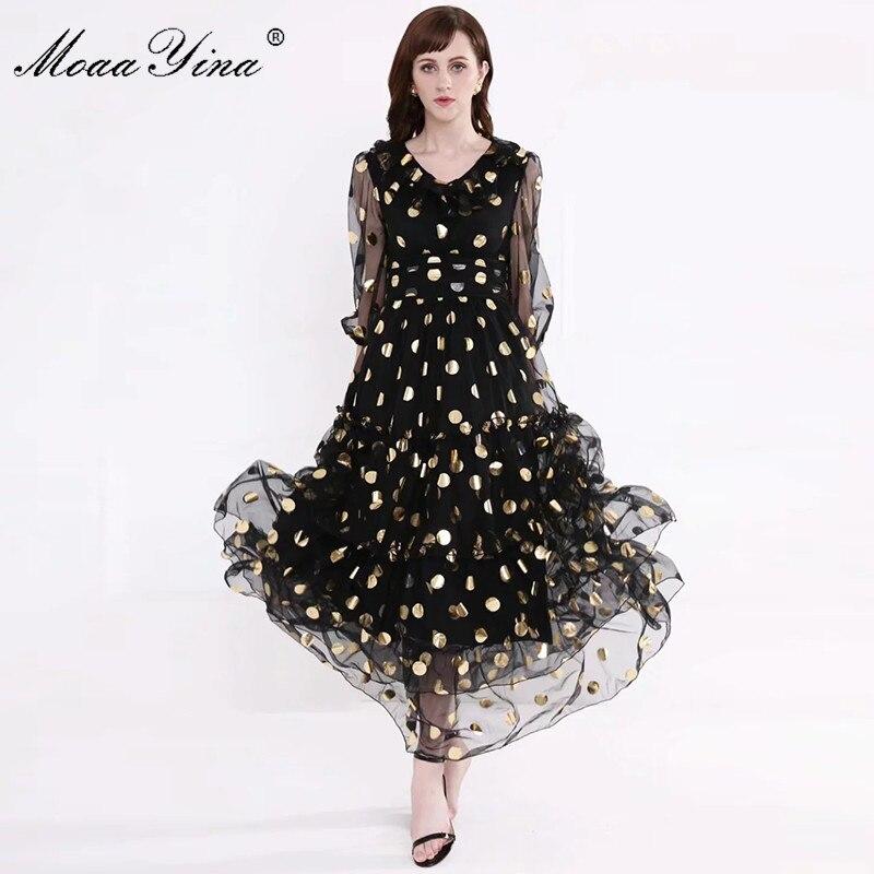 Image 3 - MoaaYina Fashion Designer Runway dress Spring Summer Women Dress V  neck Dot Mesh Black Elegant Party Ruffles DressesDresses   -