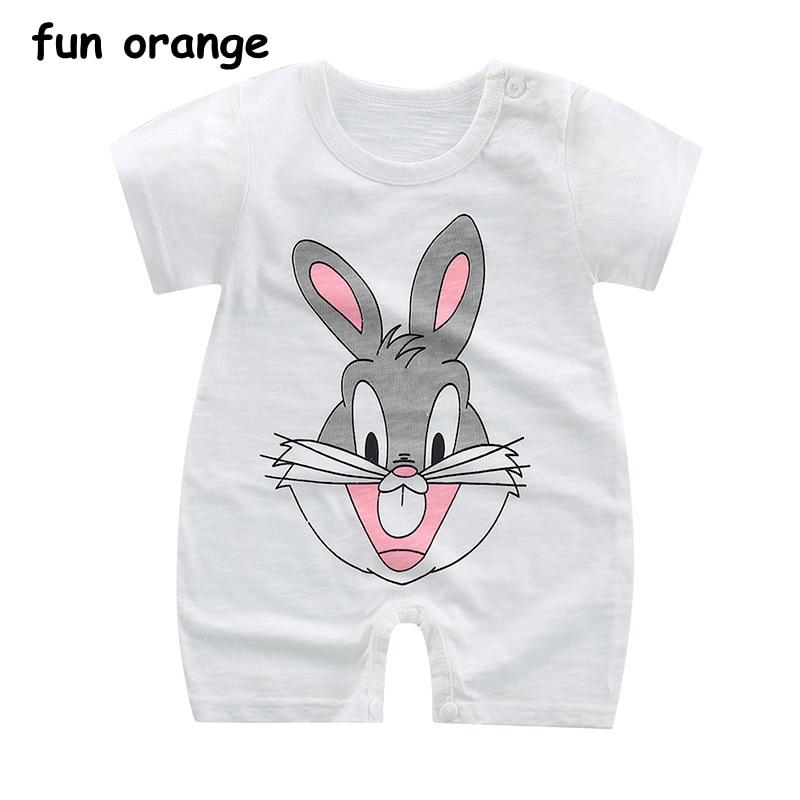 Fun Orange Summer Newborn Infant Baby Boy Girl Cotton Romper Cartoon Printed Short Sleeve Jumpsuit Kids Clothes Outfit graffiti classic boy 14 orange