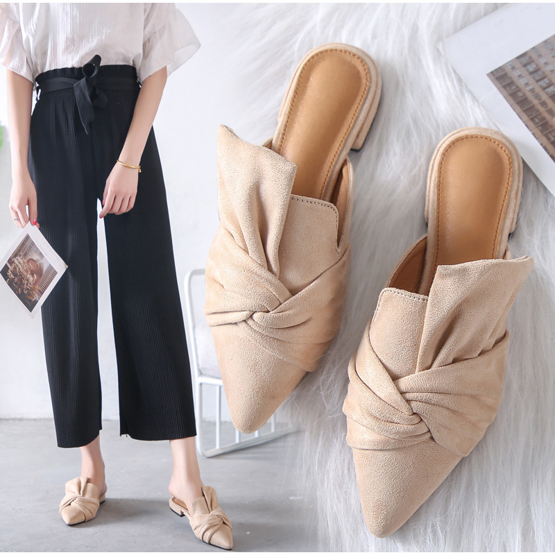 Women Slippers Summer Mules Shoes Women Suede Slide Flock Slippers Female Mules Low Heels Pointed Toe Bowtie Zapatos De Mujer