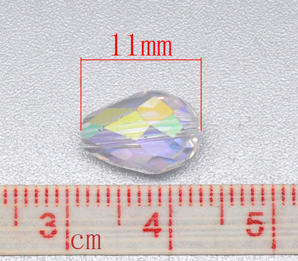 8SEASONS Clear AB Color Crystal Glass Faceted Teardrop Beads 5500 11x8mm, sold per packet of 50(B10449)
