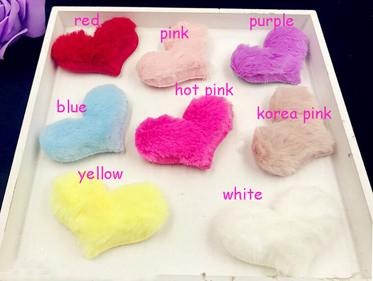 6.5x4.8cm Childrens hair Clip Accessories DIY Handmade Furry Felt Heart Padded Applique for Headwear Decoration