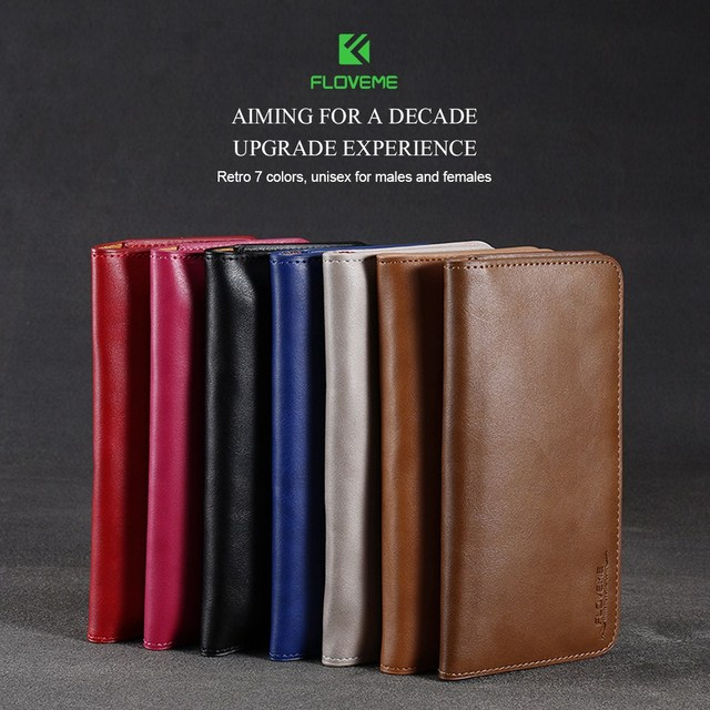 FLOVEME Universal Genuine Leather Wallet Case For iPhone X 8 7 6 6S Plus For Samsung Galaxy Note 8 S8 S9 Plus S7 S6 Pouch Cases 6