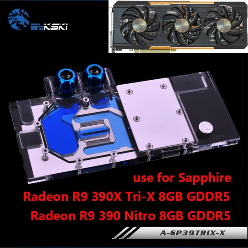 BYKSKI Full Cover Graphics Card Water Block use for Sapphire Radeon R9 390 Nitro 8GB / 390X Tri-X 8G DDR5 GPU Radiator Block RGB a as39x x 390 strix r9 390x full coverage water cooled head water jacket