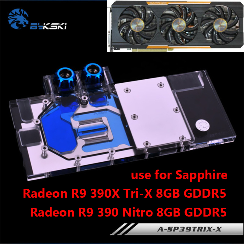 BYKSKI Pleine Couverture Carte Graphique Bloc De L'eau utiliser pour Sapphire Radeon R9 390 Nitro 8 GB/390X Tri-X 8G DDR5 GPU Radiateur RGB Bloc