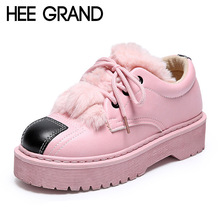 HEE GRAND Winter Platform Shoes Woman 2016 Fur Oxfords Warm Creepers Casual Loafers Lace-Up Flats Women Flat Shoes XWD4808