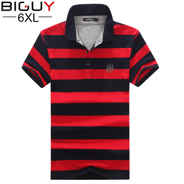 BIG GUY Plus Size 3xl 4xl 5xl 6xl Mens Polo Shirt Short Sleeve 2017 Male Polo Shirts Casual Striped Polo Shirts for Men 1555