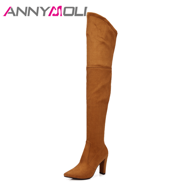 ANNYMOLI Winter Thigh High Boots Women High Heel Over the Knee Boots Shoes Pointed Toe Long Boots  Footwear New Big Size 34-43