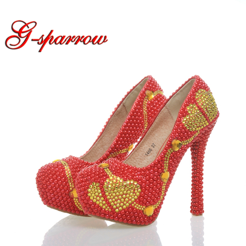 Unique Red Color Pearls Gold Rhinestone Heart Design High Heels Beautiful Banquet Nightclub Handmake Stiletto Partyprom Ceremony red color rhinestone partyprom stiletto bridal wedding shoes plus size 42 43 handmake crystal women high heels cinderella shoes