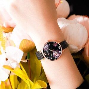Image 3 - CURREN New Ladies Flower Watches Women Stainless Steel Bracelet Wristwatch Womens Fashion Quartz Clock reloj mujer Casual