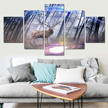 5 Panels Canvas Prints Elk In Forest Pine Tree canvas painting poster home decor fashion deer wall art for living room FA488