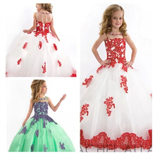 2016 Fille Pageant Robes de mariage robe de Bal Stade Performance D'anniversaire Robes Longue Partie de Princesse Robe Fleur Fille Robe