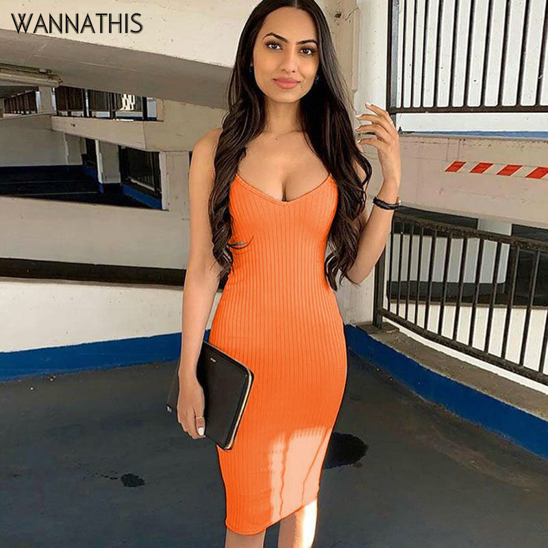 WannaThis women sexy basic dresses knee-length bodycon knitted slim sheath straps vintage solid sling holiday party dress summer