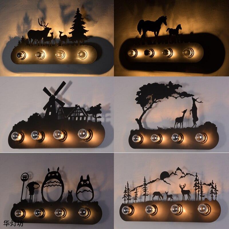 Animal style Vintage pays D'amérique restaurant Mode creative industrielle maison Mur Lampe E27 éclairage pour KTV Bar Chambre
