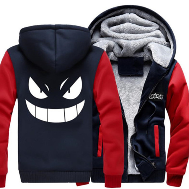 USA size Anime Men Women Pokemon go Gengar Pocket Monsters Jacket Sweatshirts Thicken Hoodie Zipper Coat