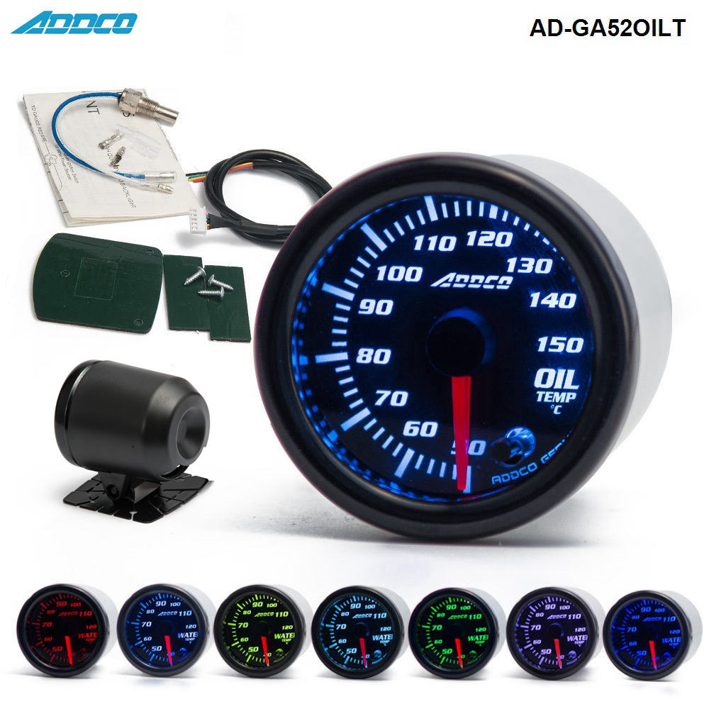 Car Auto 12V 52mm/2 7 Colors Universal Oil Temp Gauge LED With Sensor and Holder AD-GA52OILTCar Auto 12V 52mm/2 7 Colors Universal Oil Temp Gauge LED With Sensor and Holder AD-GA52OILT