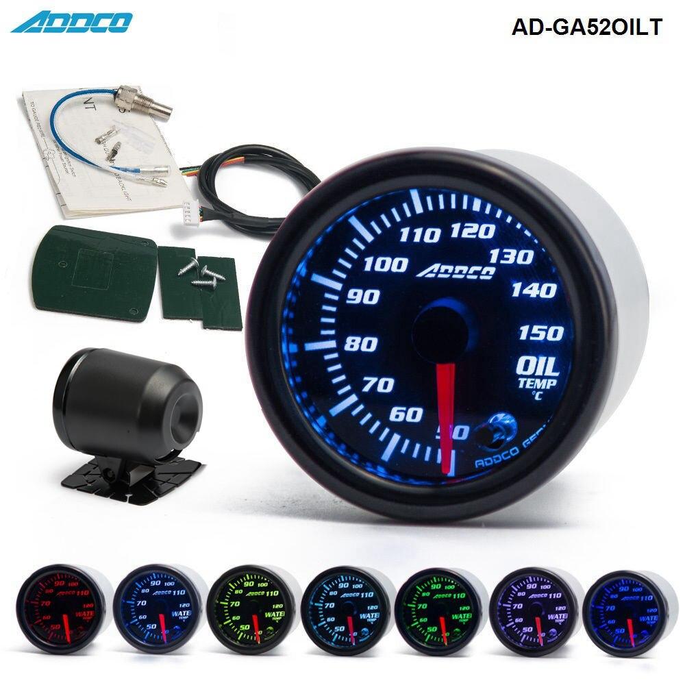 """Voiture Auto 12 V 52mm/2 """"7 couleurs jauge de température d'huile universelle LED avec capteur et support AD-GA52OILT"""