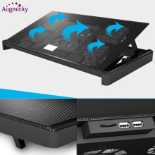 цена на 2018 New Notebook cooling pad Blue LED Laptop Cooler 5 Fans 2 USB Port Stand Pad for Laptop 10-17