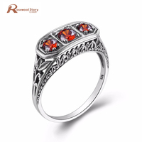 Fashion Vintage 3 Red Rhinestone Real 925 Sterling Silver Cocktail Ring For Women Unique Leaf Shape