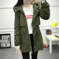 Spring New Korean Slim Casual Windbreaker Students Girls Long Section Was Thin Large Size Women S