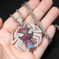 Hip Hop AAA CZ Zircon Stone Setting Bling Iced Out Cartoon Spiderman Pendants Necklace for Men Rapper Jewelry Drop Shipping