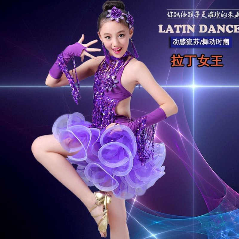 69a0f95db sequin tassel latin dance dress for girls salsa cha cha samba tango  ballroom dancing dresses kids