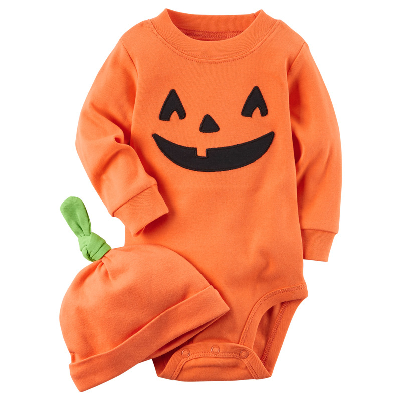 Kids Spring And Autumnhalloween Pumpkin Cosplay Costume Boys And Girls Jumpsuits Baby Crawling Clothes