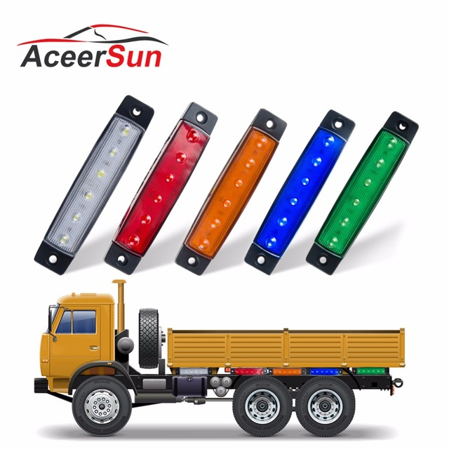 Aceersun LED Red White Blue Amber Clearence Car Truck Bus Lorry Trailer Side Marker Indicators Light Lamp 24V 12V Warning Light
