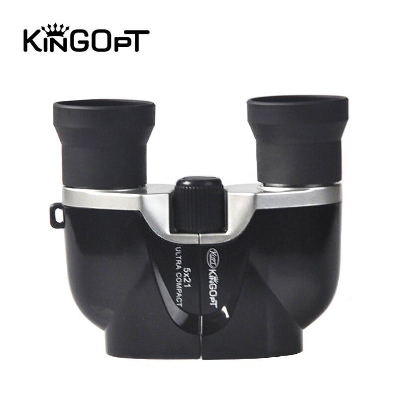 Jumelles KINGOPT 5x21 HD portables BAK4 prisme Porro Spyglass télescope binoculaire Compact pour télescopes de théâtre de tourisme en plein air