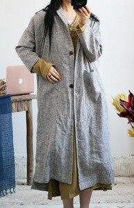 Image 3 - Gabardina de lino grueso Retro para mujer, ropa de cama, prendas de vestir, abrigo largo Vintage de lino, otoño y primavera, 2018