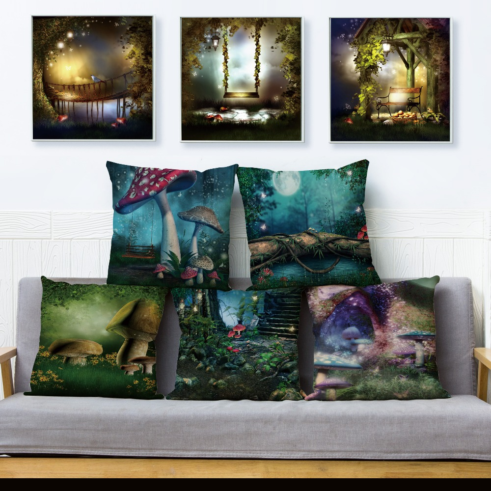 Tree Mushroom House Cushion Cover For Sofa Home Decor Throw Psychedelic Forest Pillowcase Print Scenic Pillow Case Linen 45*45cm