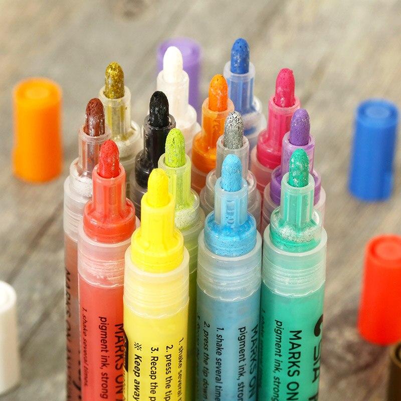 STA 12/24Color Creative Acrylic Marker Pen, Highlighter Waterproof ...