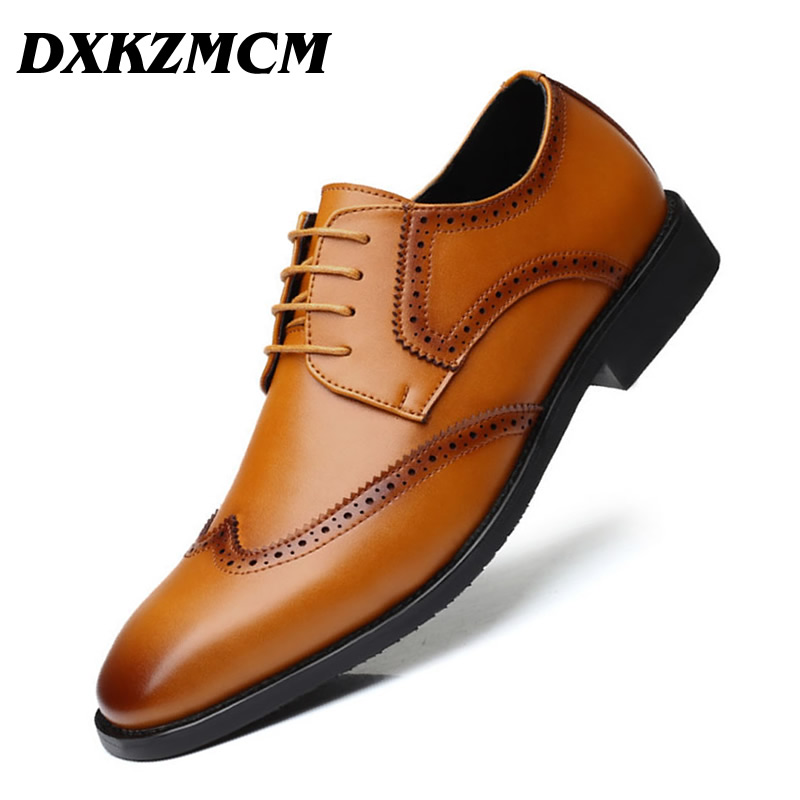 DXKZMCM Leather Brogue Mens Flats Shoes Casual Handmade Men Oxfords Formal Dress Shoes For Men 2017 new fashion men formal leather dress shoes quality brand mens dress oxfords flats plus size 38 46