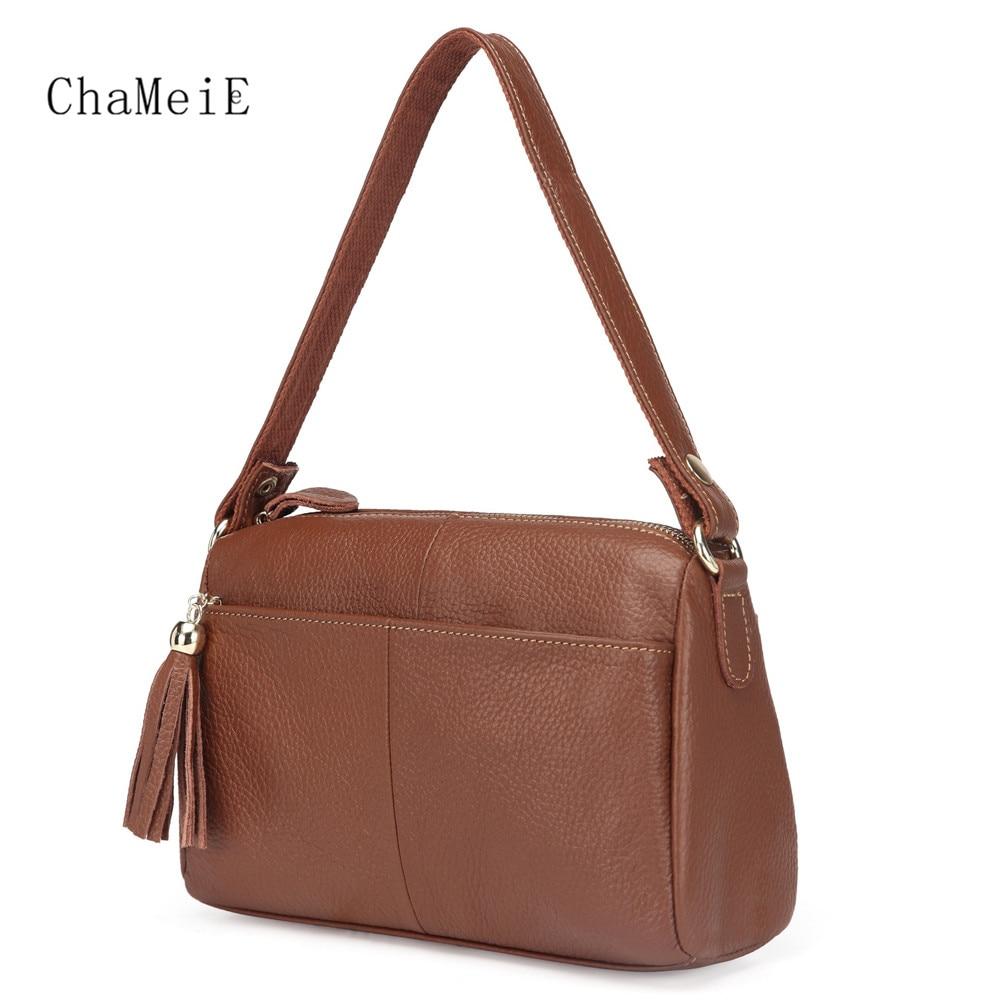 Vintage Style Luxury Women Saddle Genuine Leather Crossbody Bag Zipper Tassel Lady Brand Messenger Bag