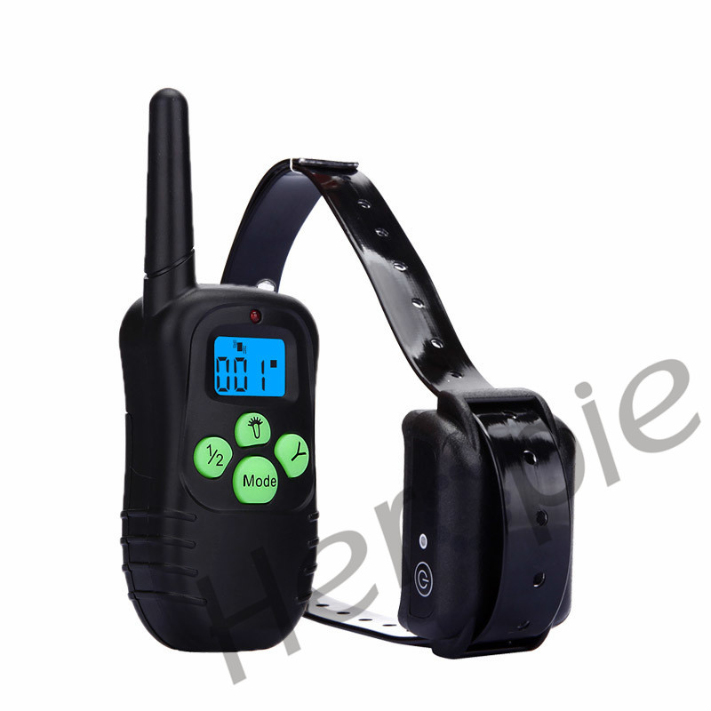Hot Sale Shock Control Dog Training Collar with blue LED Backlight Rechargeable LCD Remote Free Shipping