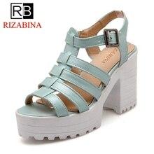 RizaBina ladies ankle strap peep open toe high heel sandals platform women cutout brand heeled footwear