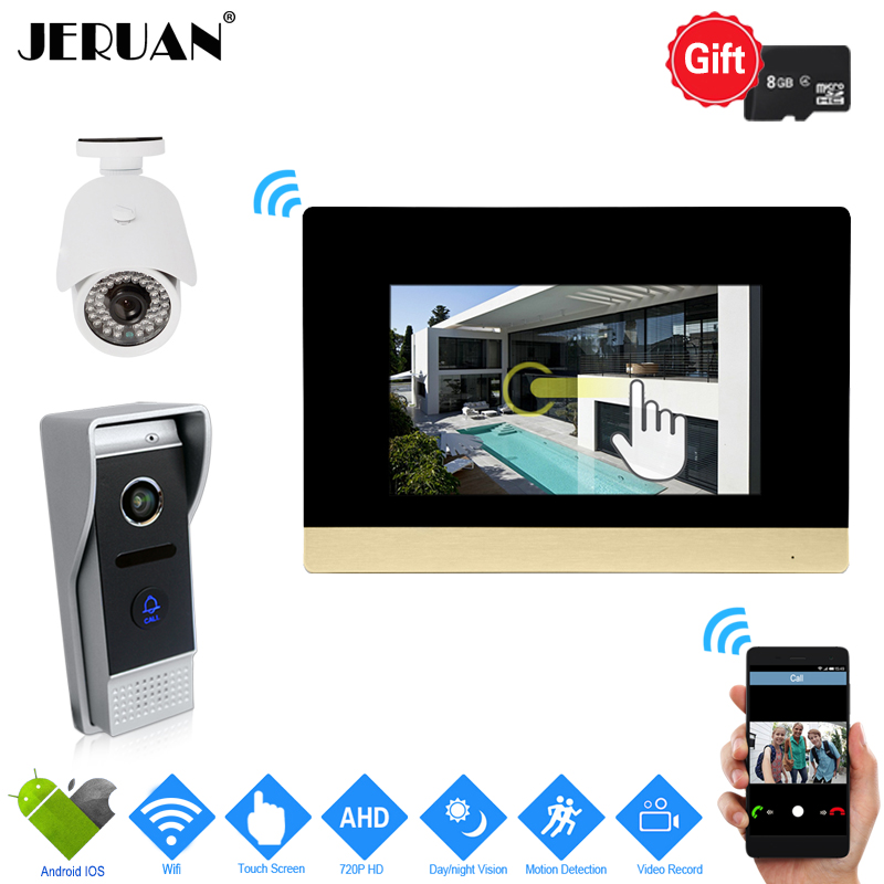 JERUAN 720P IP WIFI 7`` Touch Screen Color Video Door phone Intercom System Motion Detection Record Monitor+HD Waterproof Camera jeruan home 7 video door phone intercom system kit rfid waterproof touch key password keypad camera remote control in stock