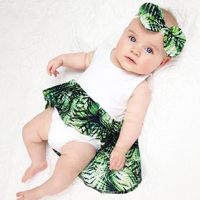 Summer Baby Girls Bodysuit Sleeveless White Bodysuit for Newborn Baby Leaf Print Tutu Bodysuit Infant Onesie with Headband